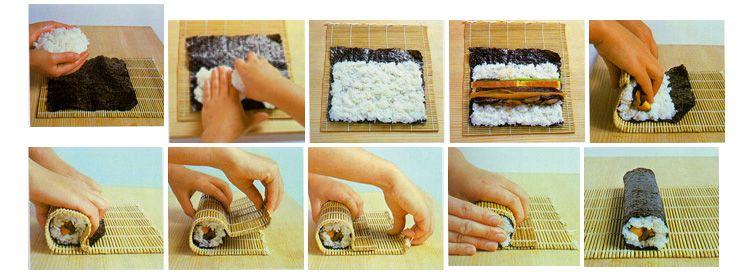 Как заворачивать суши поэтапно