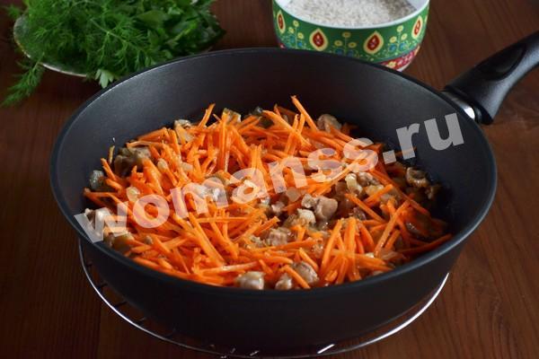 Плов с курицей на сковороде: рецепт с морковью